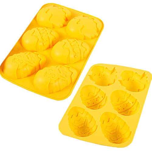 Orapink - Stampo in silicone per uova di Pasqua, per cioccolato, dessert, 2 stampi in silicone a forma di uovo di Pasqua.