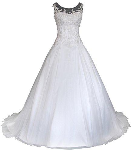 Romantic-Fashion Brautkleid Hochzeitskleid Weiß Modell W064 A-Linie Satin Stickerei Perlen Pailetten DE Größe 46