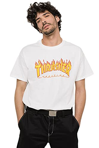 CAMISA THRASHER MAGAZINE FLAME BLANCO - L, blanco