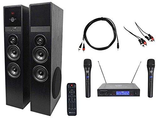 Rockville Bluetooth Home Theater/Karaoke Machine System w/(2) Wireless Mics+Subs