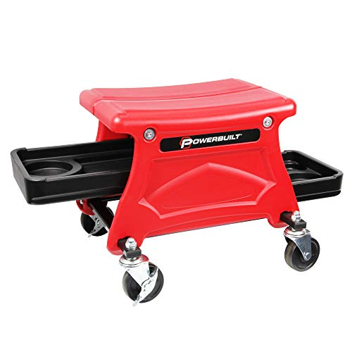 Powerbuilt Roller Seat with 2 Slide-Out Tool and Beverage Trays for Garage Smooth Rolling Ball Bearing Casters 300 lb Capacity for Brake Jobs, Detailing, Cleaning, Motorcycle, Gardening - 240283