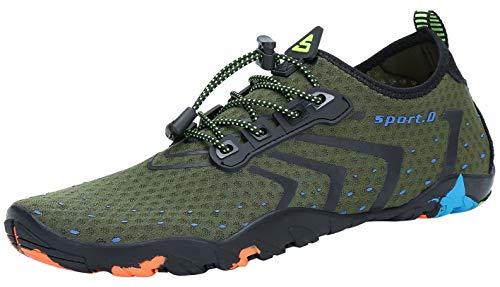 SAGUARO - Zapatillas unisex multifunción para deportes acuáticos con suela gruesa, tallas 35a 46, color Verde, talla 45 EU