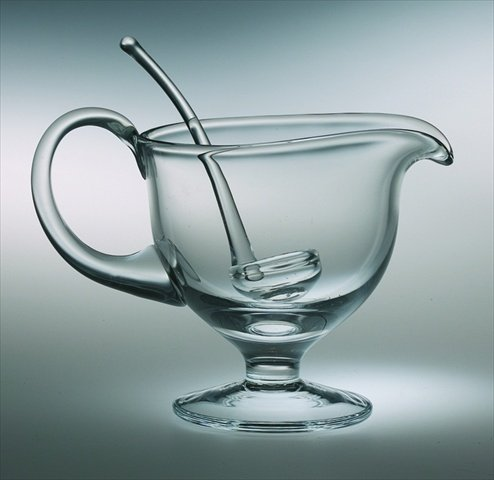 Majestic Gifts European Handmade Gravy Boat with Ladle, Medium, Clear