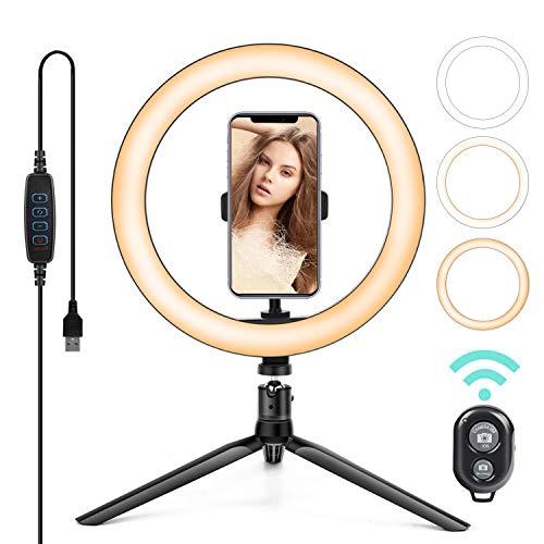 Kemier Selfie Ringleuchte Stativ mit Fernbedienung,Tischringlicht mit 3 Farbe und 10 Helligkeitsstufen,Bluetooth-Empfänger für YouTube Tiktok Selfie oder Makeup (19cm)