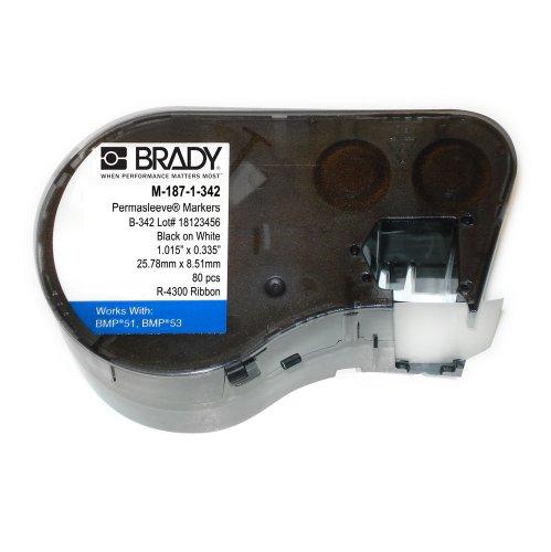 "Brady M-187-1-342 Polyolefin B-342 Black on White Label Maker Cartridge, 21/64"" Width x 1-1/64"" Height, For BMP51/BMP53 Printers"