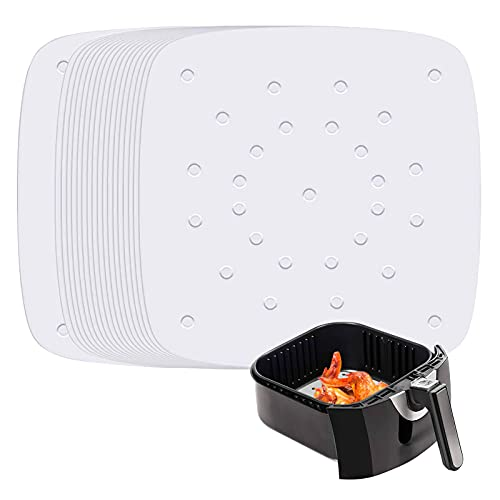 Air Fryer Parchment Liners, Set of 200, 8.5 inch Square Air Fryer Paper/Perforated Parchment Liner/Steaming Paper for Air Fryer, Steaming Basket and More