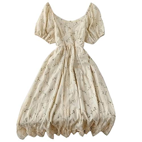 Women Hollow Out Puff Sleeve Floral Embroidery Lace Mesh Dress for Casual Wedding Cocktail Party (C-Beige, One Size)