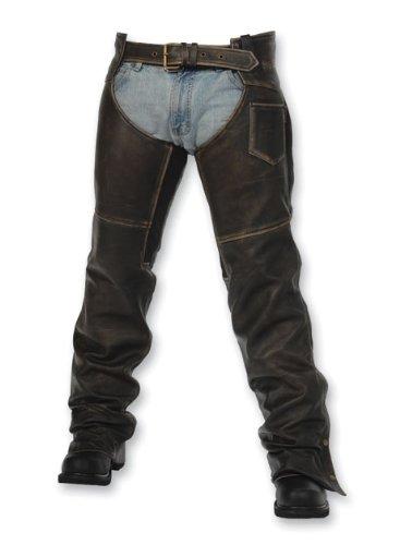 Big Sale Milwaukee Motorcycle Clothing Company Crazy Horse Unisex Chap (Distressed Black, Medium)