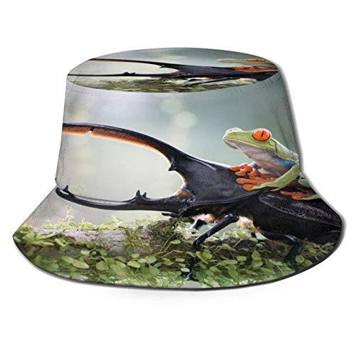 Rana Verde Montando en Escarabajo Sombrero de Cubo Unisex al Aire Libre Gorra de Verano Sombreros de Sol Plegables para Senderismo Deportes de Playa
