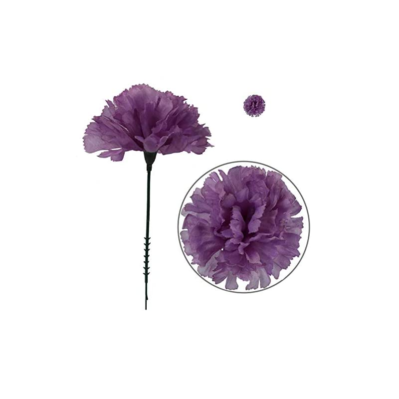 "silk flower arrangements larksilk lavender silk carnation picks, artificial flowers for weddings, decorations, diy decor, 50 count bulk, 3.5"" carnation heads with 5"" stems"