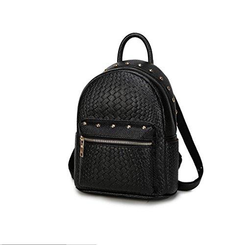 Fashion Rivet en cuir petit sac à dos Casual léger Pack voyage sac à dos de vente datant petits sacs à main pour les dames et les étudiants , black