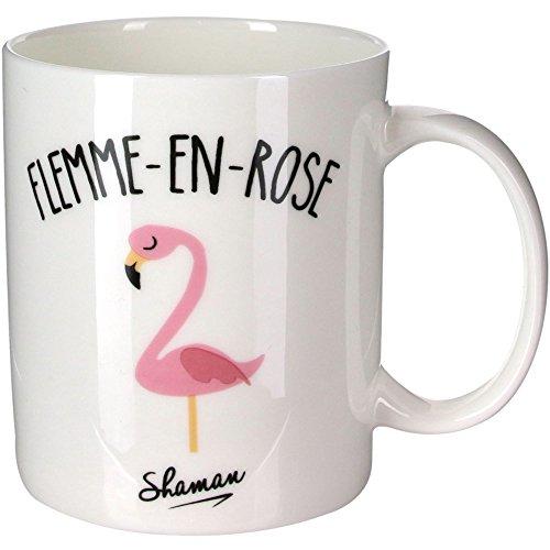 Le Fabuleux Shaman 37-1X-003 Mug Flemme en rose Blanc Porcelaine D12 x H10 cm