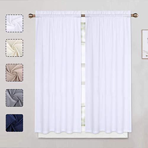LinTimes Weiße Vorhänge, Stufen, kurze Vorhänge, Küchen-/Café-Vorhänge für kleine Fenster mit Schlitzen oben, 76,2 cm B x 114,3 cm L, Weiß, 2er-Set