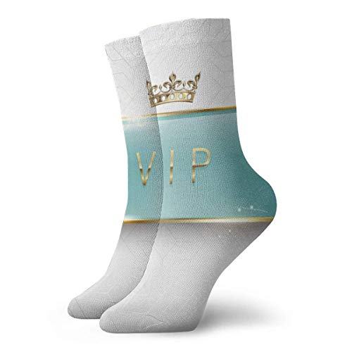 Vip Etiqueta de vidrio verde claro con marco dorado, destellos y corona sobre fondo blanco Calcetines largos de moda Calcetines suaves y cálidos 1 par para mujeres y hombres Calcetines deporti