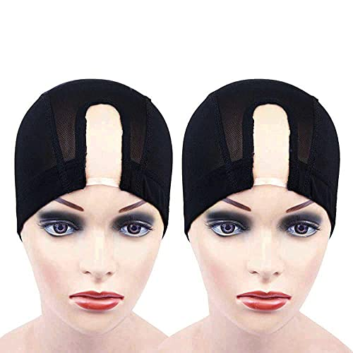 2 pcs Black Wig Caps with U Part Mesh Weaving Wig Cap with Elastic Band Stretchable Nylon Hair Net for Making Wigs (M)
