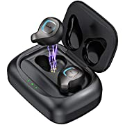 Wireless Earbuds Bluetooth Headphones in-Ear Auto Pairing Wireless Earphones Waterproof Bluetooth 5.0 80H Playtime Deep Bass Stereo with 2200mAh Charging Case