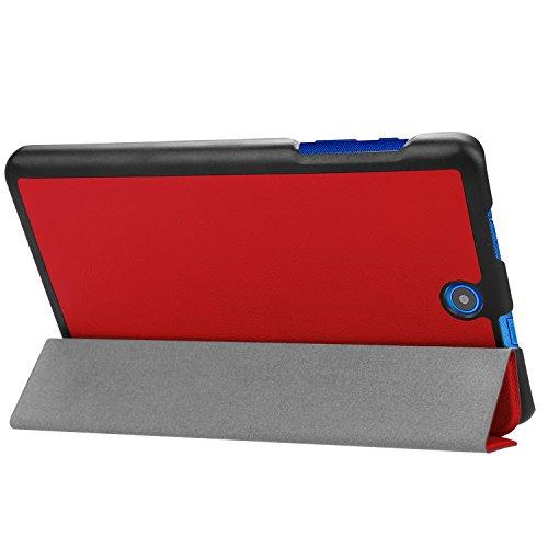 Kepuch Custer Hülle für Acer Iconia One 8 B1-860 B1-850,Smart PU-Leder Hüllen Schutzhülle Tasche Hülle Cover für Acer Iconia One 8 B1-860 B1-850 - Rot