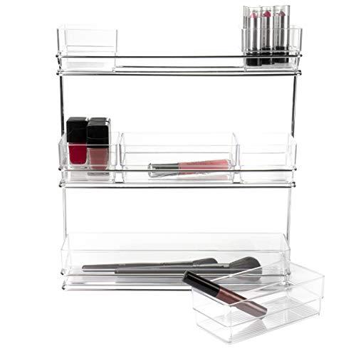 Hausfelder Organizer-Regal, Kosmetik Make-up Wandregal, Aufbewahrung für Schminke, Nagellack, Lippenstift (3 Etagen, transparente Organizer)