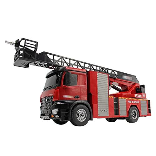 MYRCLMY Rescate Control Remoto De Bomberos Brotes Agua Extensible 18 Pulgadas Escalera 10 Canales Fire Motor De Trabajo Sonidos Luces RC Trucks para Niños