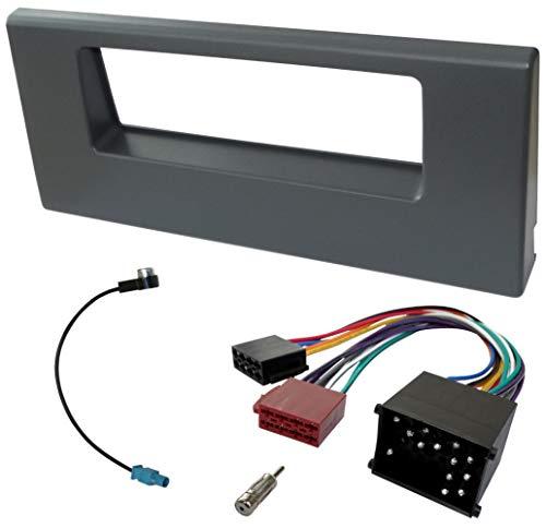 AERZETIX - Kit de montaje de radio de coche estándar 1DIN - Marco, cable enchufe y adaptadores de antena - Gris - C40947A