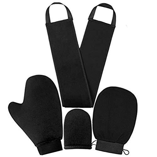 Lseqow Guantes bronceadores para Espalda, Guantes exfoliantes corporales, aplicador autobronceador, autobronceador Reutilizable, 4 Piezas/Juego