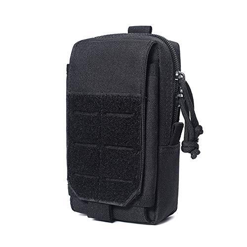 Dooep Tactical Molle EDC Pouch Compact 1000D Multipurpose Utility Gadget Belt Waist Bag IFAK Bag Smartphone Pouch Tool Holster Pocket Includes U.S.A Patch (Black)