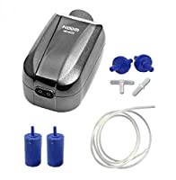 High Efficiency Ultra Quiet Aquarium Energy Saving Air Pump Power: 4w LPM: 2 x 1.6 Pressure: 0.016 - UK 3-pin plug fitted Package Includes: Air Pump, 2 x Return Valve, 2 x Air Stone, 2m Airline & Connectors Number of Outlets: 2 Suitable for Fish Tank...