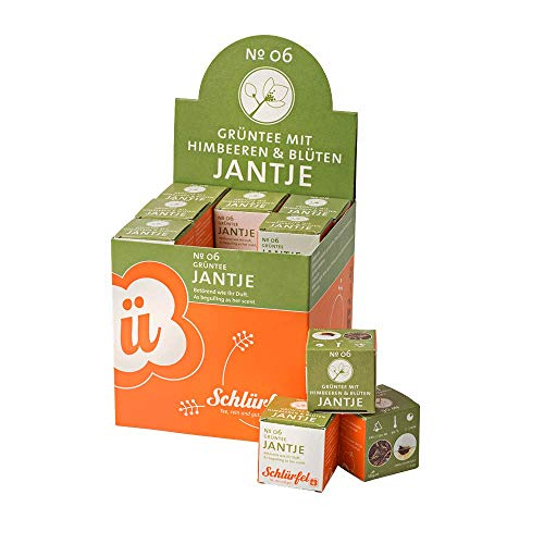 Schlürf Schlürfel Bio Grün Tee | Jantje No. 6 | 1 Display mit 27 Teebeutel Würfel | Tee Box | Pyramidenbeutel einzeln verpackt | 67,5 g