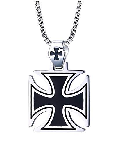 VNOX Acero Inoxidable Hombres La Plata Negro Collar Colgante Cruz de los Templarios,la Cadena Libre