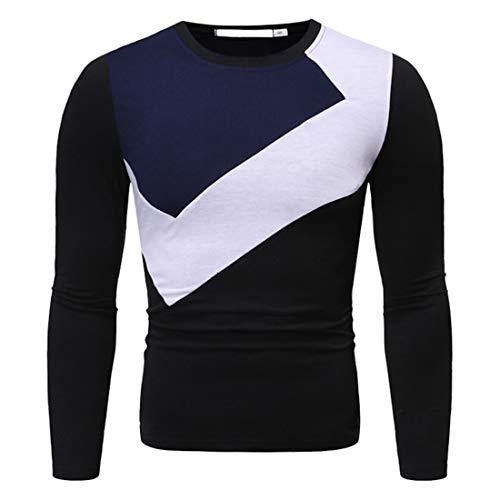 T-Shirt Herren Tops Herren Rundhals Farbe Blockierendes Bequemes Herren Muskelshirt Herbst Neues Langarm Bequemes Atmungsaktives Herren Sweatshirt Herren T-Shirt B-Black XXL