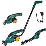 Aufun 2 en 1 - Cortasetos con batería y mango y ruedas, tijeras de hierba eléctricas con batería y cargador, 7,2 V, 1500 mAh, cortador de césped para contornear setos, hierba y arbustos