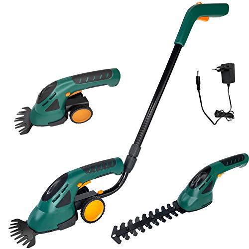 Aufun Cortasetos eléctrico con batería 2 en 1, con mango y ruedas, incluye batería y cargador, 7,2 V, 1500 mAh, cortador de césped para contorno de setos, hierbas y arbustos