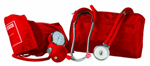 Primacare DS-9181-RD Professional Blood Pressure Kit, Includes an Aneroid Sphygmomanometer and Sprague Rappaport Stethoscope, Red