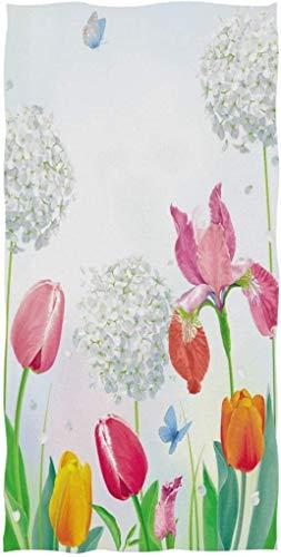 Hermosas Toallas de Mano Grandes y Suaves para el día de la Madre con Flores de Tulipanes de Primavera para baño, Hotel, Gimnasio y SPA Floral