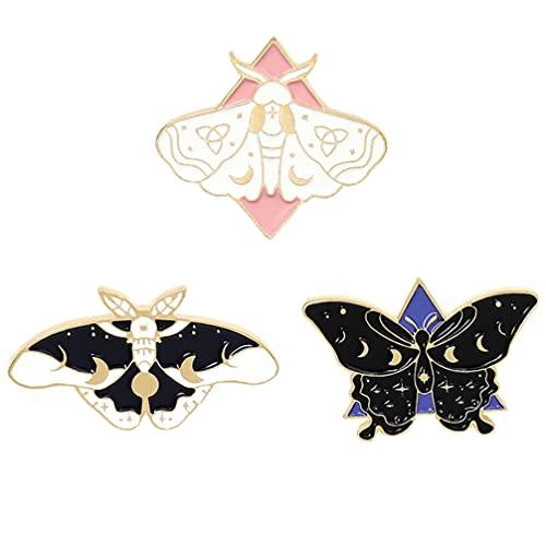 Happyyami 3 Pièces en Forme de Papillon Broche Pins Set Cool Horreur Revers Pins Broches pour Sacs À Dos Steampunk Badge Bijoux pour Femmes