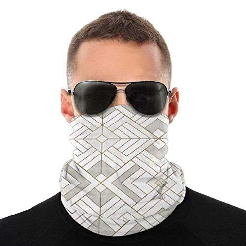 ShiHaiYunBai Halstuch/Kopftuch Lennox Vintage Deco-White Gold Face Clothing Neck Gaiter Mask ¨C Non Slip Light Breathable for Sun Wind Dust
