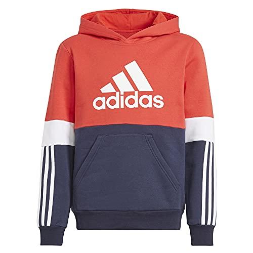 Adidas B CB FL HD Sweatshirt, Legend Ink/Vivid Red/White, 6 Anni Boys