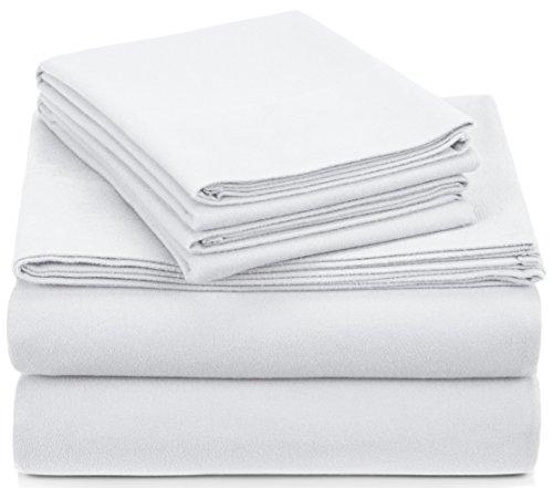 Pinzon Signature Cotton Heavyweight Velvet Flannel Sheet Set - Queen, White