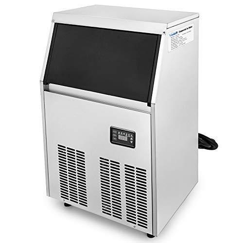 Chrisun Machine à Glaçons Automatique 220V 50Hz Machine à Glaçon Professionnel En Acier Inoxydable Machine à Glace (60KG)
