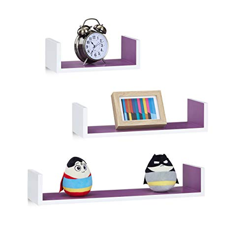 Relaxdays Wandregal, 3er Set, eckige U-Form, freischwebend, 15cm Tiefe, für Bücher, DVDs, Deko, weiß-violett