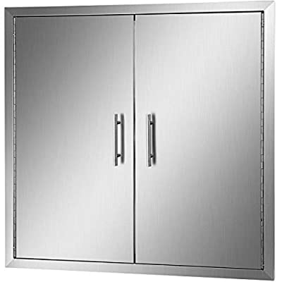 """Mophorn Outdoor Kitchen Access 31"""" X 31"""" Wall Construction Stainless Steel Flush Mount for BBQ Island, 31inch x 31inch, Double Door"""