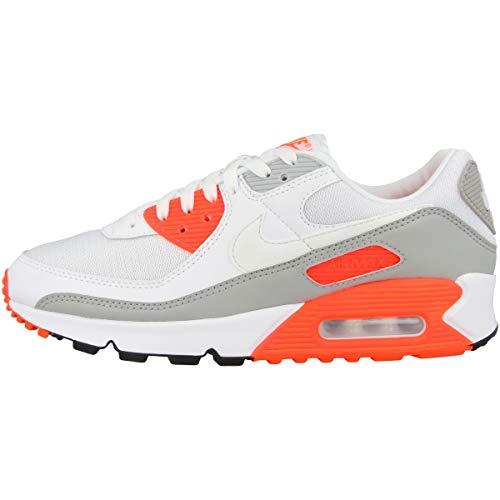 Nike Herren Air Max 90 Laufschuh, White/White-Hyper orange-lt Smoke Grey, 42.5 EU
