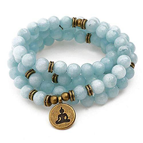 108 Pulseras Azul Marino Natural Collar con Colgante de Buda de Ojo de Loto - Pulsera de Jade para Hombres y Mujeres (Azul 8mm) Sea Blue Bracelet/Tree of Life Pendant