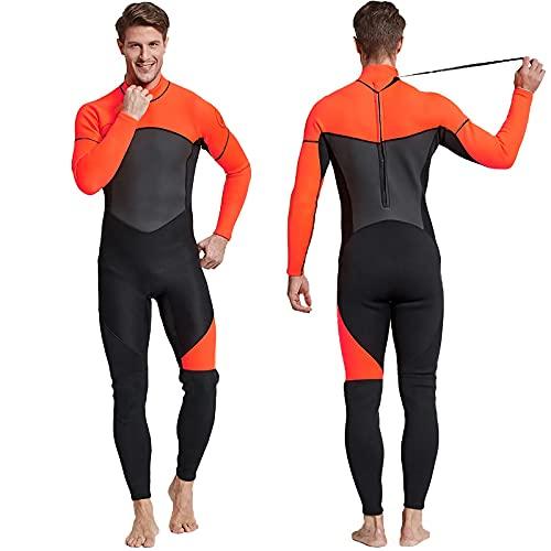 HIYIRUI Trabajo de Traje de Trabajo Completo Hombres 3mm Neopreno Traje de Buceo UV Protección de UV de Manga Larga One Pieza Traje de baño para Snorkeling Surfing Buceo Kayak Jet Skiing,Naranja,XL