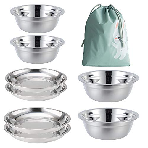 Stainless Steel Plates,Bowls,Cups Camping Set (8-Piece Set) 5.5inch to 8.7inch for Kids, Adults, Family | Camping, Hiking, Beach. Kansas