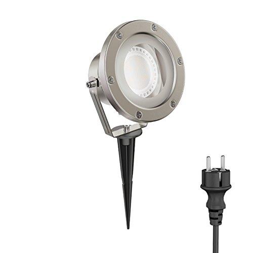 ledscom.de LED Gartenstrahler BULA mit Erdspieß für außen, Edelstahl, inkl. GX53 Lampe 11,5W=62W 830lm 100° warm-weiß
