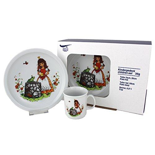 Triptis-Porzellan Froschkönig Kindergedeck, 3 teilig Kindergeschirr