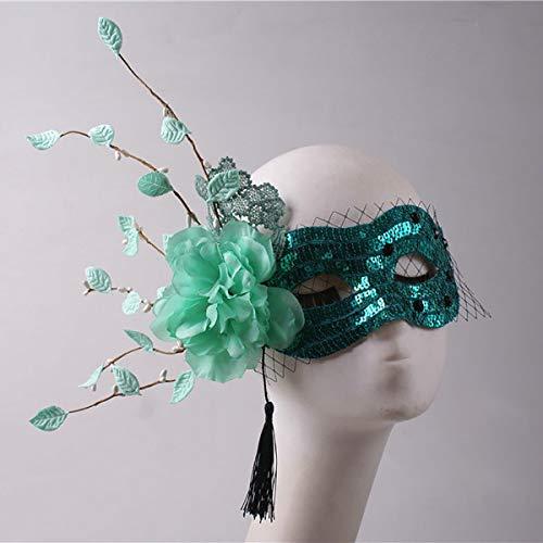 GLXQIJ Frauen Grün Funkelnd Maskerade Maske, Schönheit Halbes Gesicht Pailletten Schutzmaske Seite Fransen Blume Netto-Dekor, Stufe Halloween Gesichtsmaske