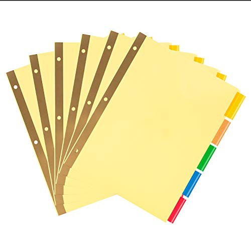Amazon Basics 3 Ring Binder Dividers With 5 Tabs, Paper Binder Dividers, Insertable Multicolor Plastic Tabs, Pack of 6 Sets (30 Dividers Total)