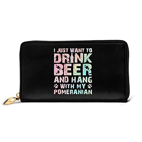 DJNGN Solo Quiero Beber Cerveza y Pasar el rato con mi Billetera de Cuero Pomerania con 12 Ranuras para Tarjetas Moda y personalización